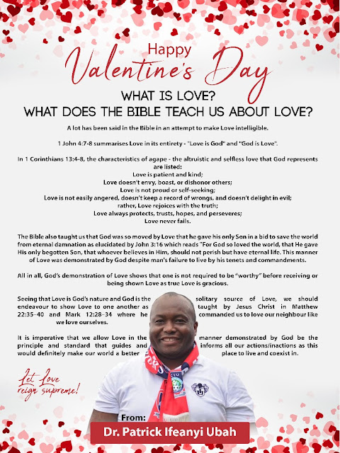 Valentine's Day: Dr. Patrick Ifeanyi Ubah Urges Nigerians To Show True Love To One Another