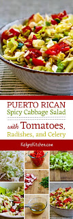 Spicy Cabbage Salad with Tomatoes, Radishes, and Celery (Puerto Rican Cabbage Salad) from KalynsKitchen.com.
