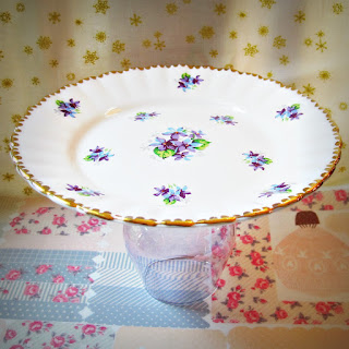 image eleanor cake stand vintage upcycled purple flowers