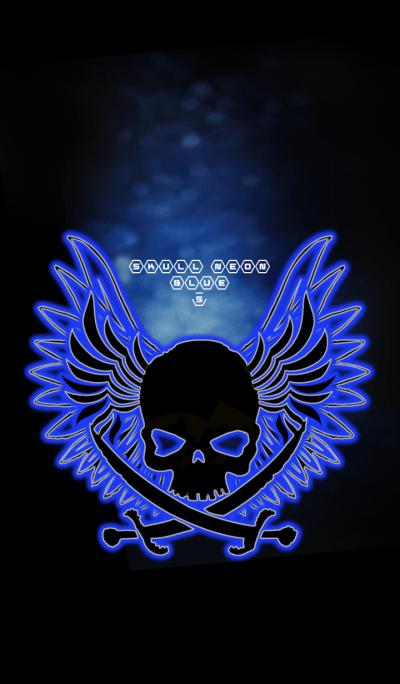 SKULL NEON BLUE5