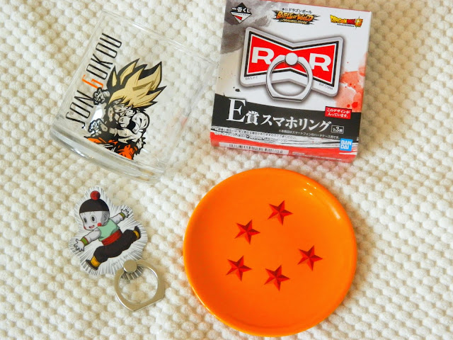 A selection of prizes won in a Dragon Ball ichiban kuji
