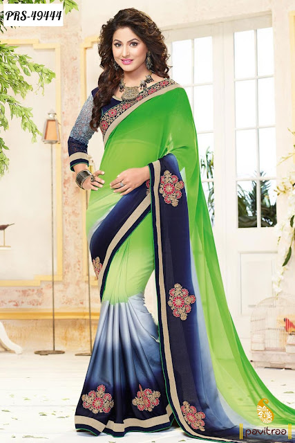 Diwali festival and wedding wear green georgette designer saree online shopping with discount at pavitraa.in