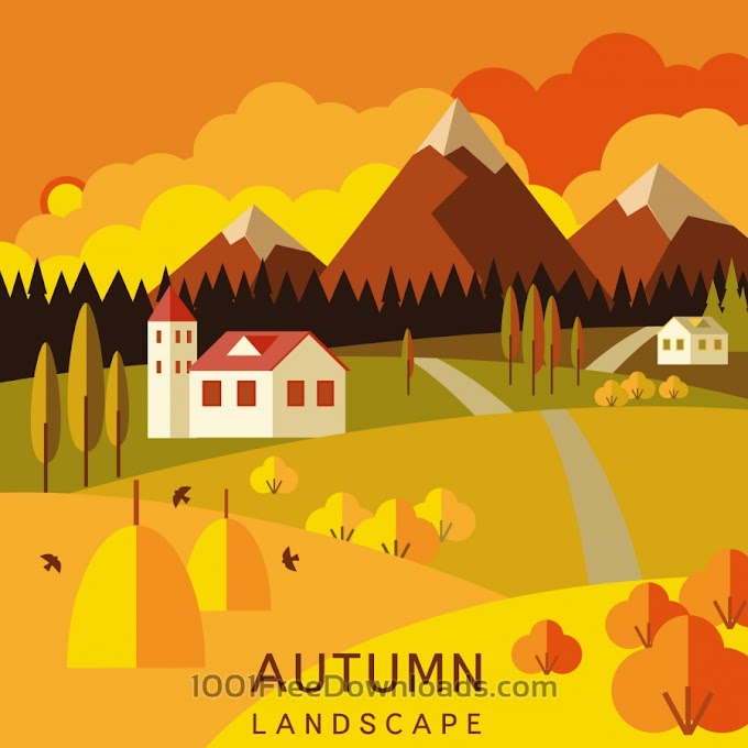 Autumn landscape Exclusive Free Vector