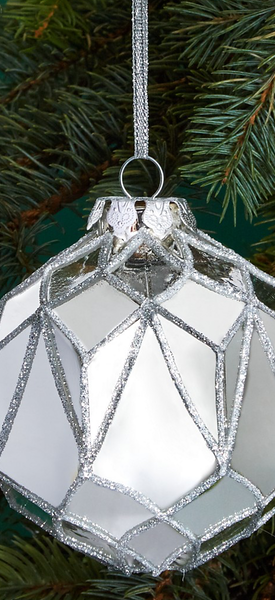 Bloomingdale's Glass Ball Faceted Mirror Ornament