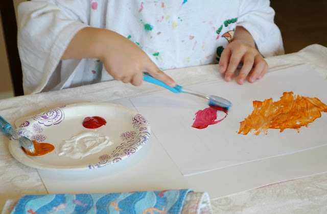 Dental Health Preschool Craft- Toothbrush Painting