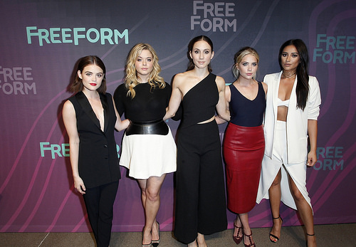 Troian Bellisario (Spencer), Ashley Benson (Hanna), Lucy Hale (Aria) and Sasha Pieterse (Alison) on PLL romances, awkward scenes and outfits