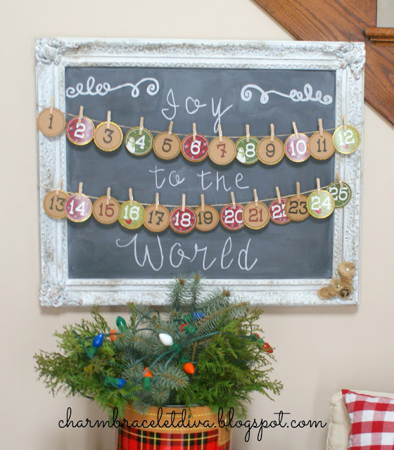 DIY Christmas Countdown Advent Calendar cardstock number rounds banner chalkboard