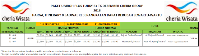 PAKET UMROH DIATAS PLUS TURKI BY TK DESEMBER 2016 CHERIAP GROUP