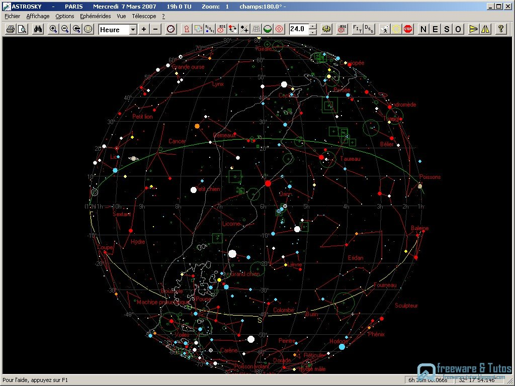 astrosky un logiciel de cartographie du ciel freewares tutos. Black Bedroom Furniture Sets. Home Design Ideas