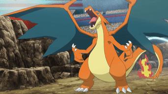 Capitulo 32 Temporada 19: ¡La Liga de Kalos comienza! ¡Enfrentamiento de Mega-Charizard: X contra Y!