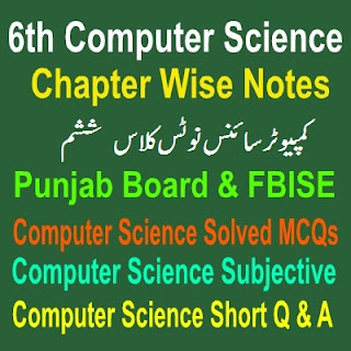 Computer Science Full Book Six Class All Chapters Objective Notes in PDF