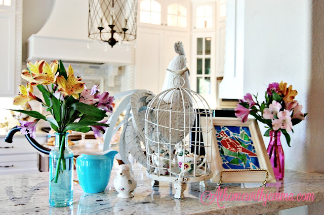aqua creamer, bird creamer, pioneer woman decor, flowers, birdcage