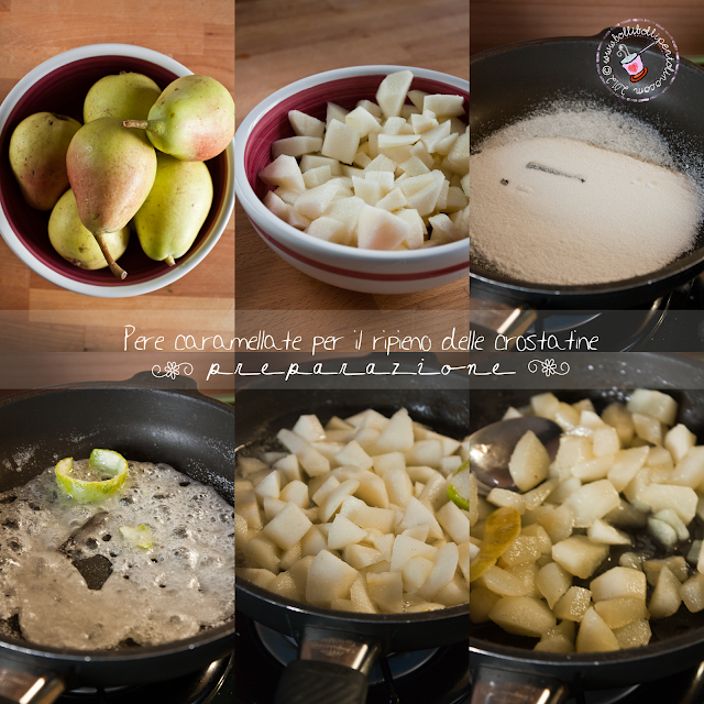 preparazione del ripieno per le crostatine di pere e cioccolato
