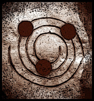 image of a spiral with three circles balanced on its edges, Pathfinder deity Korada