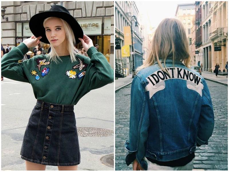 street style denim trends, sweatshirt style, denim patches