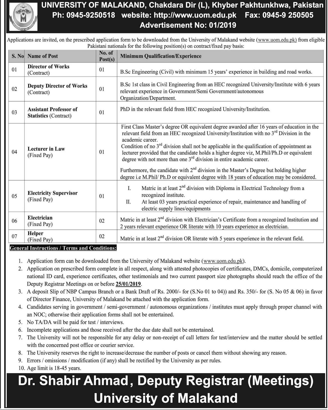 malakand-university-jobs-2019