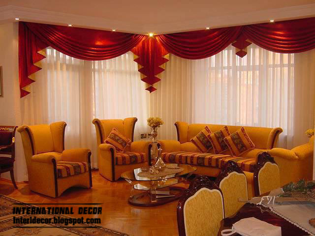 Red And White Curtain Design With Lighting For Living Room