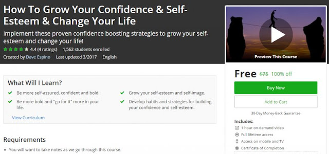 [100% Off] How To Grow Your Confidence & Self-Esteem & Change Your Life| Worth 75$