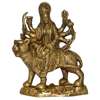 DronaCraft Lion Riding Hindu Goddess Durga Brass Statue