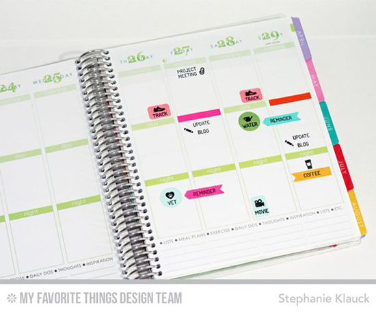 Stamped planner from Stephanie Klauck featuring Laina Lamb Design Family Life Planner and Organized Life Planner stamp sets and Planner Pieces Die-namics #mftstamps