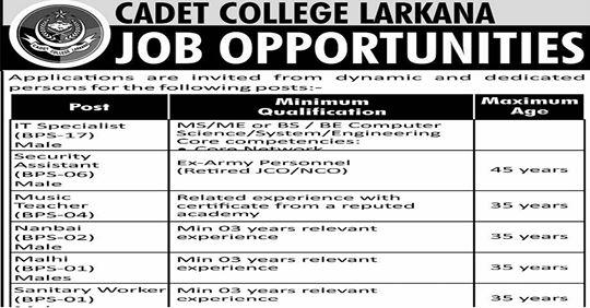 Cadet College Larkana Jobs 2019