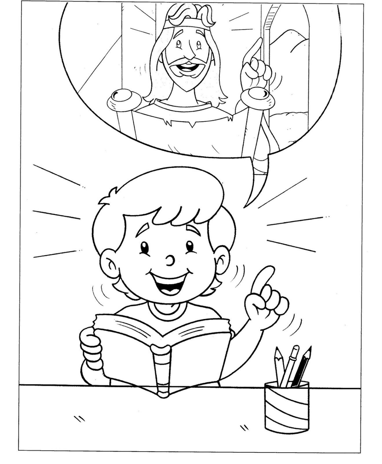 Niño leyendo la biblia para colorear ~ Dibujos Cristianos