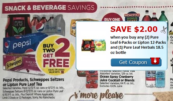 picture relating to Lipton Tea Printable Coupons referred to as Beverage Offer upon Lipton, Pepsi, and Schweppes at Tops Bargains