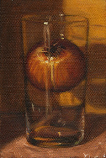 Oil painting of a brown onion wedged inside a cider glass.