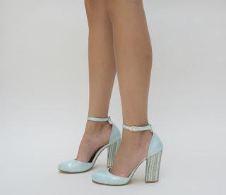 pantofi eleganti de ocazii cu toc inalt turcoaz