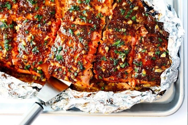 Honey Mustard Salmon #salmon #dinner
