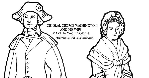 Color these paper dolls of George and Martha Washington