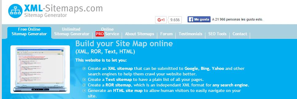 generar sitemap online recursos para webmaster