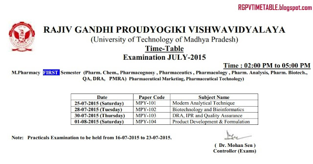 RGPV Examination Time Table: July 2015