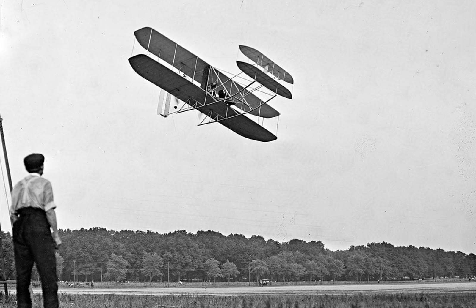 Orville Wright during proving flights for the U.S. Army at Fort Myer, Virginia, in July of 1909. The Wright brothers were able to sell their airplane to the Army's Aeronautical Division, U.S. Signal Corps