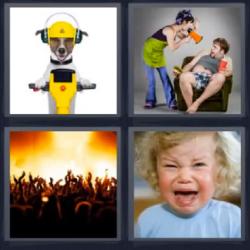 4 fotos 1 palabra perro en moto o taladro gente en fiesta niño