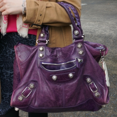 balenciaga raisin purple giant g21 hardware slouchy work bag on arm | awayfromtheblue