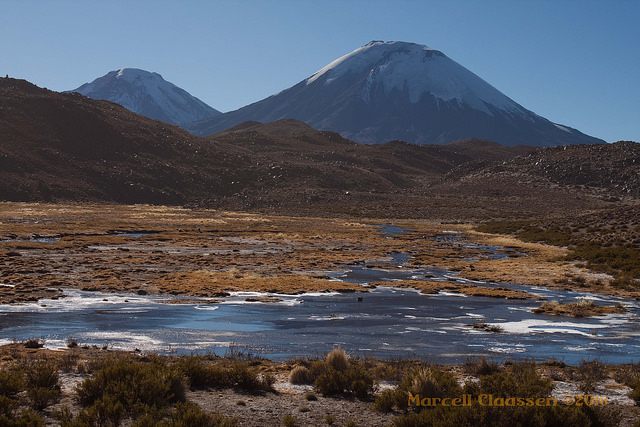 desert trekking: frozen lakes and the twin volcanoes