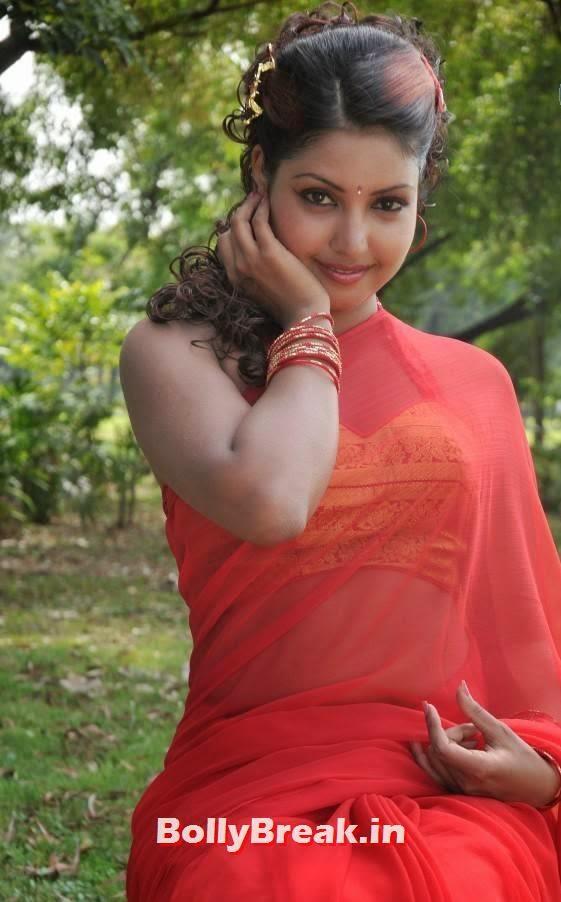 , Komal Jha HD Images in Red Saree