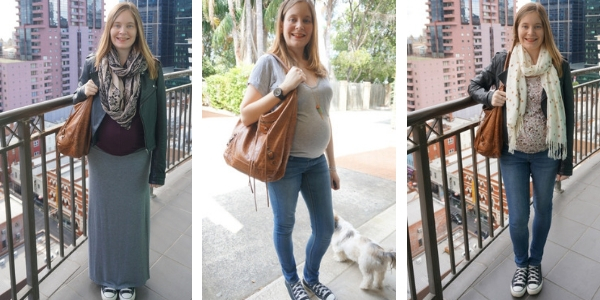 3 ways to wear Balenciaga autumne brown day bag in pregnancy second trimester | awayfromblue