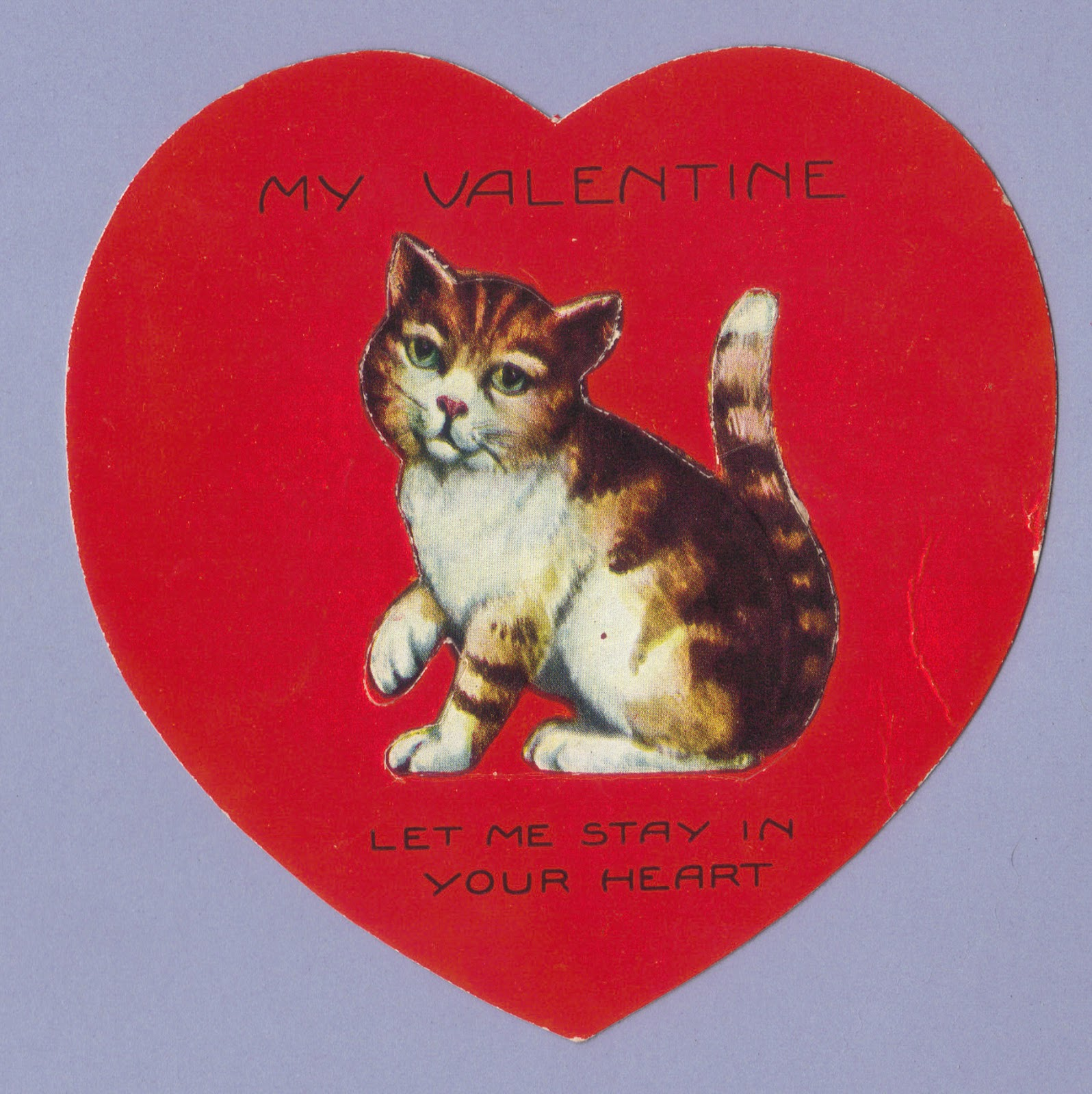 my valentine le me stay in your heart circa 1920s - Cat Valentine Cards