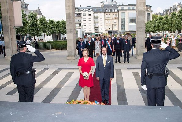 Hereditary Grand Duchess Stephanie visited the Esch. Princess Stephanie wore Paule Ka red dress, Prada pumps, gold earrings