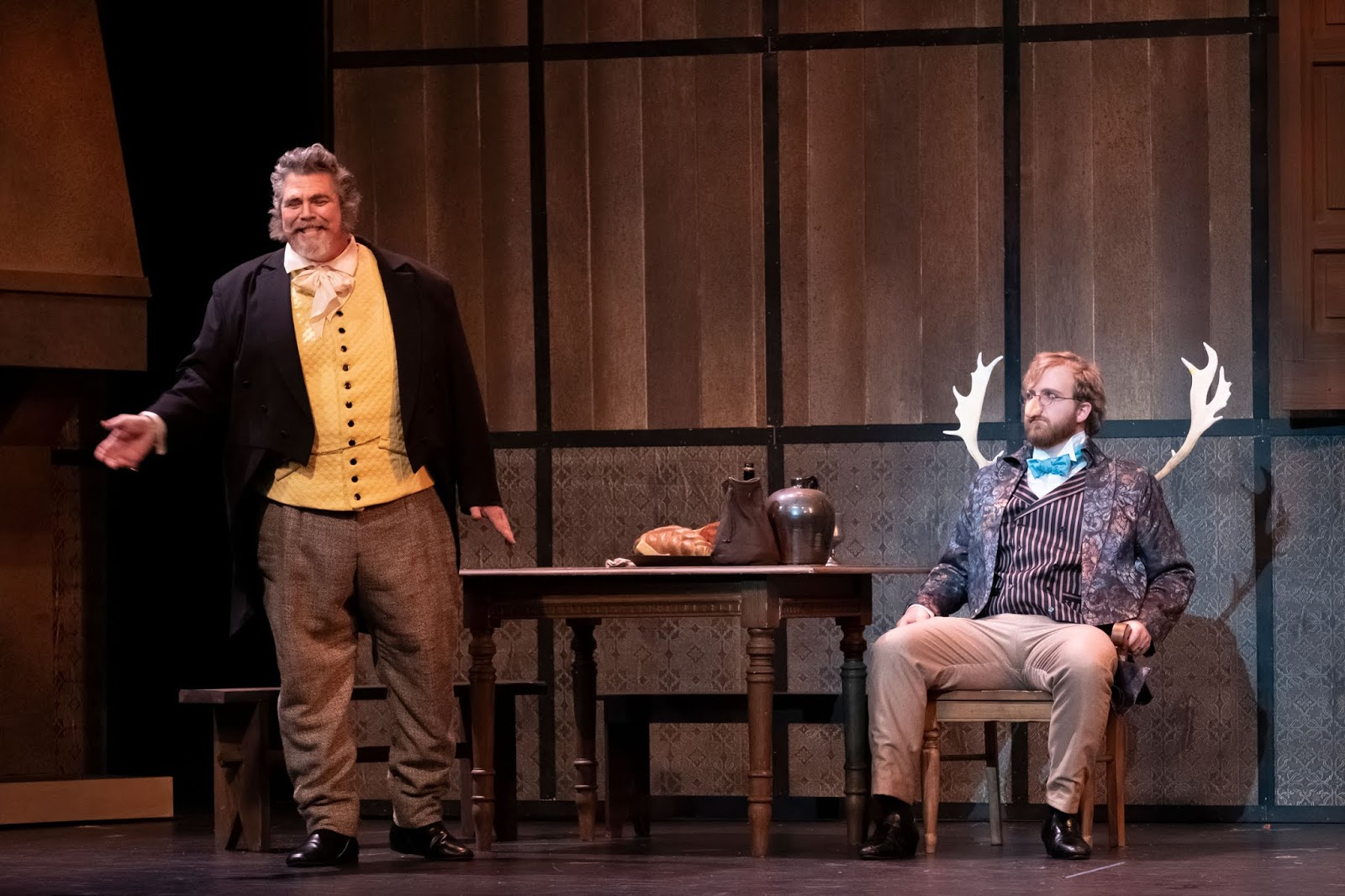 IN REVIEW: baritones RICHARD ZELLER as Falstaff (left) and CHRISTIAN BLACKBURN as Ford (right) in UNCG Opera Theatre's April 2019 production of Giuseppe Verdi's FALSTAFF [Photograph by Martin Kane, © by UNCG Opera Theatre]