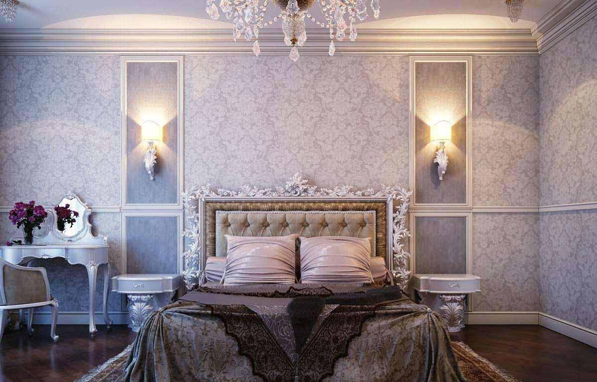 Kombinasi Unik Desain Kamar Tidur Mewah Dengan Kamar Tidur Klasik Luxurious bed in traditional design with vintage crystal chandelier