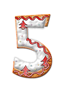 Number five graphic, decorated with icing and trees