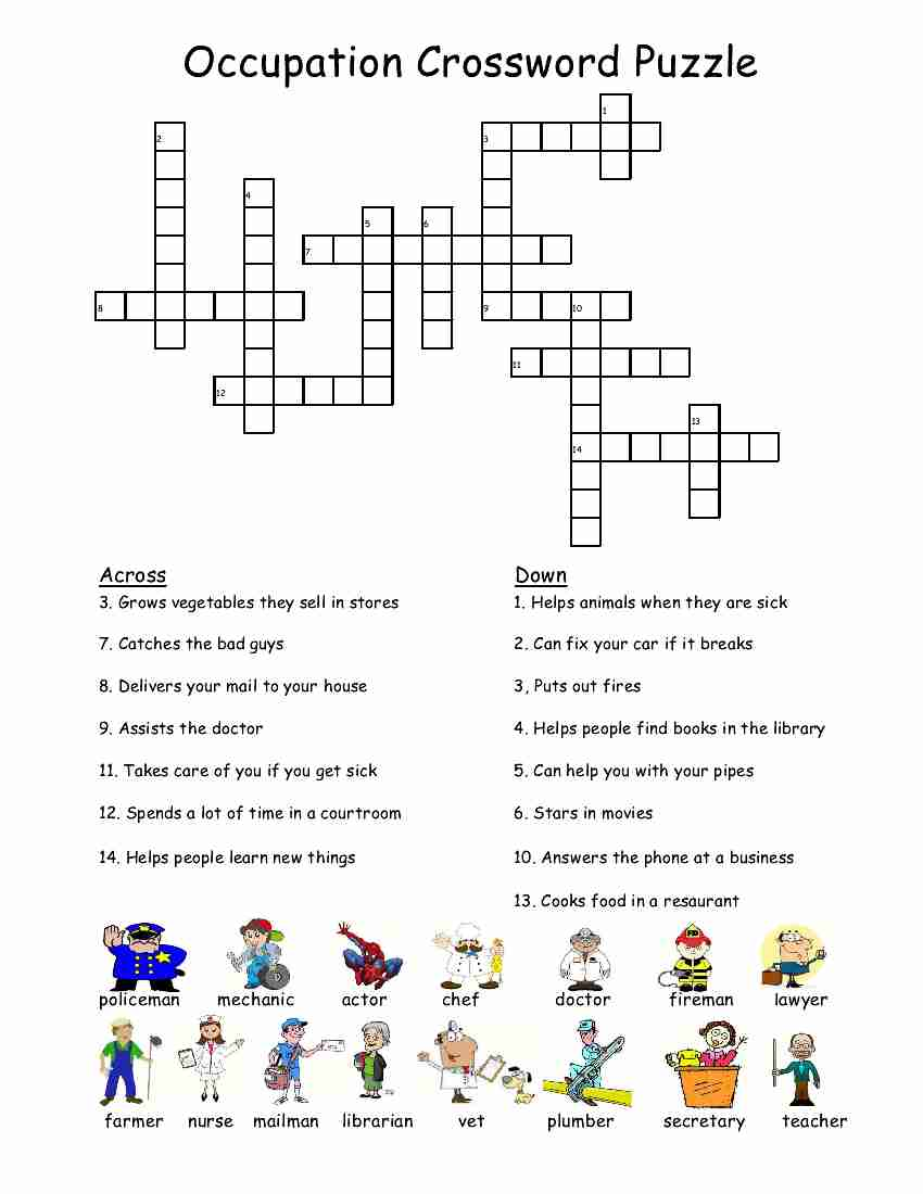 Workbooks special education life skills worksheets : Empowered By THEM: Occupation Crossword Puzzle