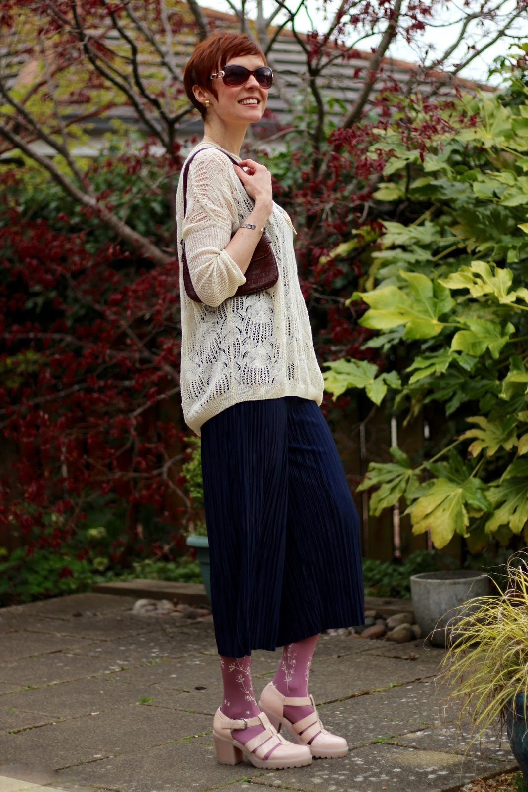 Pleated Culottes, Zohara Patterned Tights, vagabond sandals and a Slouchy Knit.