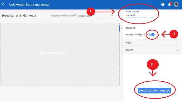 cara mendapatkan kode iklan matched content