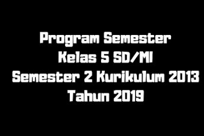 Program Semester Kelas 5 SD/MI Semester 2 Kurikulum 2013 Tahun 2019