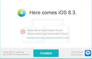 Cara Mengatasi Error 'Apple Driver Hasn't Been Found' TaiG Jailbreak