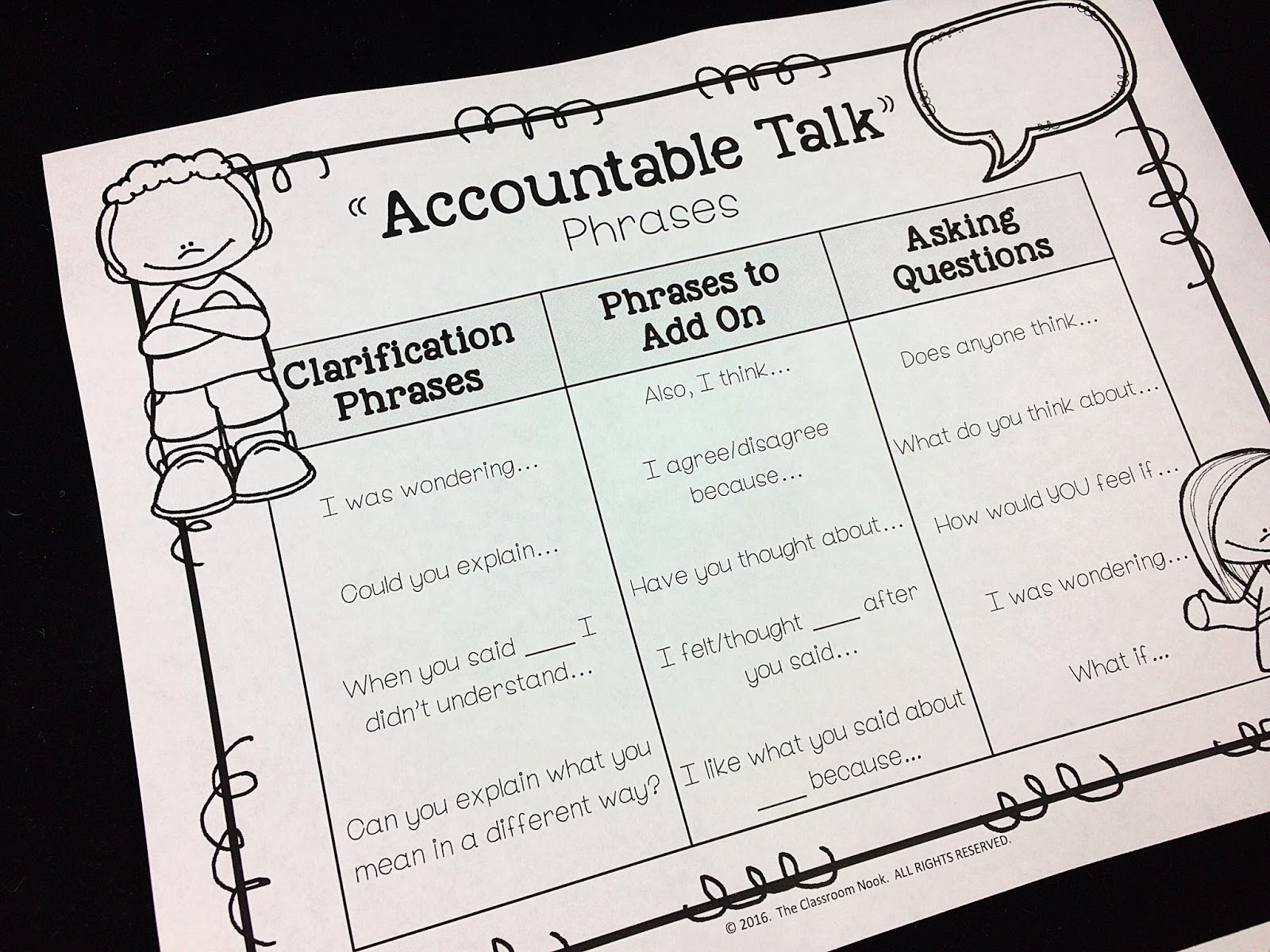 Provide Your Students With Their Own Accountable Talk Reference Sheet Also Included The Free Posters To Keep At Desks And Bring Them